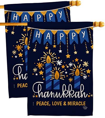 Peace Love Happiness House Flag - 2 pcs Pack Winter Hanukkah Candle Bonsai Menorah Jewish Chanukah David - Decoration Banner Small Garden Yard Gift Double-Sided Made In USA 28 X 40