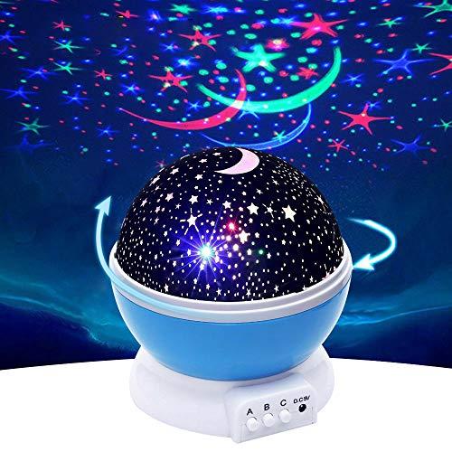 Faretto rotante a luce notturna a LED stellato faretto romantico per bambini, amici, amanti per offrire regali, 4 colori luci rotanti a 360 gradi illuminazione camera da letto decorata con USB(Blu)