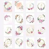 Carte étape grossesse, cartes mois par mois grossesse florale rose, 16 cartes papier photo finition glacé