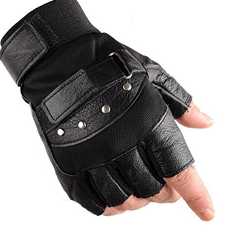 KUYOMENS Men's Cycling Half Finger Genuine Leather Gloves