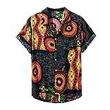 CAOQAO- Camisa Hombre Hawaiana Verano Hawaianas Manga Corta Diferentes Botones Casuales Camisa