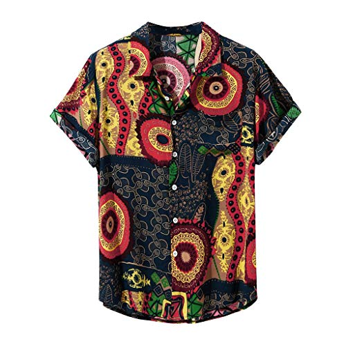 Buy Bargain Mens Casual Turn Down Collar Hawaiian Shirt Short Vintage Sleeve Ethnic Printed Button D...