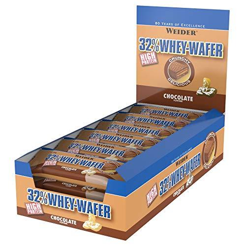 Weider 32{4643512b57463eec9531a31e4c2a334c324479ab0cbb4f132c6c95dda973e8d0} Whey Wafer Proteinriegel 35g, Schoko, 24 leckere Eiweiß Waffeln mit Schokolade