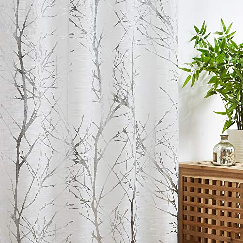 Fmfunctex Silver Branch White Sheer Curtains for Living Room 96' Length Metallic Print Tree Curtain Panels with Linen Textured Drapes Bedroom Window Treatment Curtains 2 Pack