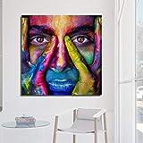 ganlanshu Pintura sin Marco Mujer artística Colorida Frente a la Sala de Estar con Carteles y Grabados murales decoración del hogar ZGQ4547 50X50cm