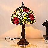 ステンドグラス ランプ 薔薇と蝶々 8インチ テーブルランプ アンティーク