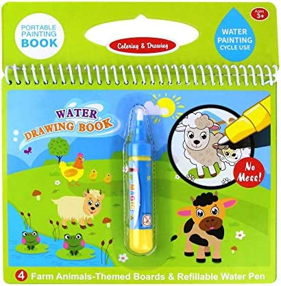 Jenilily Water Coloring Doodle Book Reusable Drawing Book with Pen Painting Board Educational product image