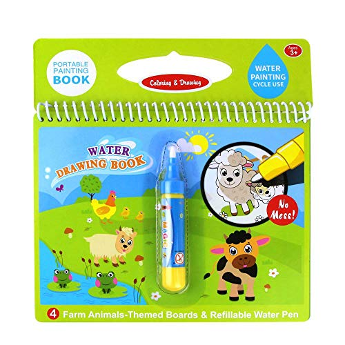 Jenilily Water Coloring Doodle Book, Reusable Drawing Book with Pen Painting Board, Educational Toy Travel Kits Gift for Age 3+ Kids Girls and Boys (Cartoon Farm Animals)