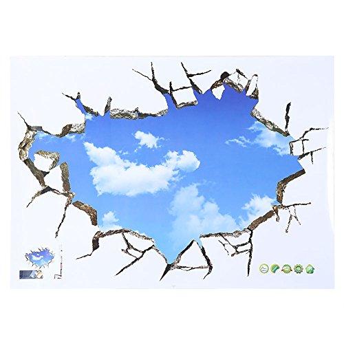 GOTOTOP Creativo 3D Cielo Nube Etiqueta de La Pared del Paisaje Arte de La Pared Rota Mural de La Casa…