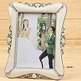 SHUIQUAN 絶妙なベージュ花の形のフォトフレーム結婚式デスクトップの装飾Phictureフレームの1pcs 7インチプラスチック製のフレームの写真portafotos (Color : Xinxiangyin silver, Size : 7 inch)