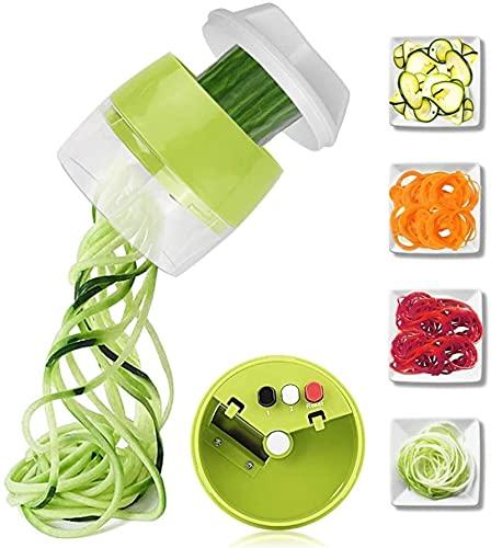 Espiralizador de mano para verduras y frutas, cortador de rallador en espiral ajustable, herramientas de ensalada, calabacín, fideos y espaguetis (color verde, tamaño: 1)