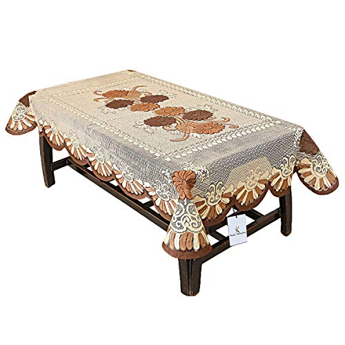Kuber Industries Floral Cotton 4 Seater Centre Table Cover – Brown (CTKTC01160)