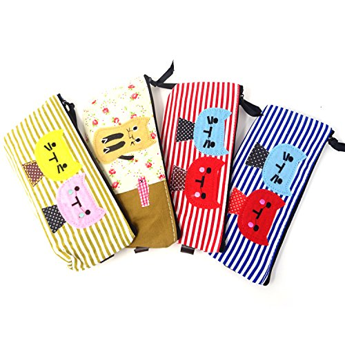 honbay 4große Kapazität Leinwand Pen Bleistift Fall Fashion Cute Cat Leinwand Pen Bleistift Taschen Kosmetik Make-up Taschen Medaille Staubbeutel