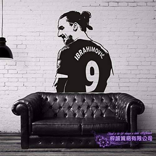 Fútbol Deportes Fútbol Jugador estrella sueco Zlatan Ibrahimovic Etiqueta de la pared Etiqueta engomada del coche Calcomanía de vinilo Niños Fans Dormitorio Sala de estar Club Decoración par