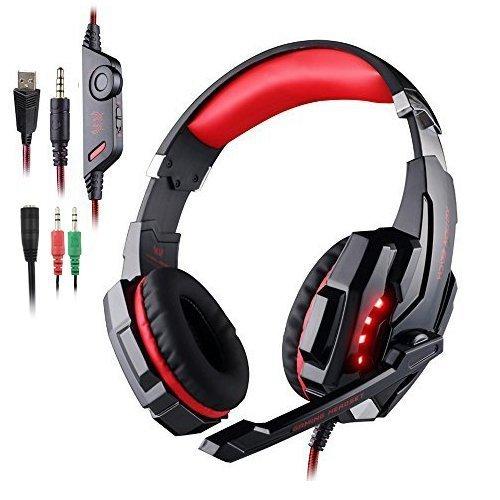 Gaming Headset PS4 AFUNTA KOTION EACH G9000 Gaming Headset Musick Kopfhörer Ohrhörer f¨¹r PlayStation 4 6 / 6S / 6 plus / 5s / 5c / 5 , 3,5 mm Kopfhörer auf Ohr-Surround-Sound mit Mikrofon und LED-Licht für PS4 PC Laptop Tablette Mobiltelefone - Schwarz/Rot