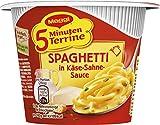 Maggi 5 Minuten Terrine Spaghetti (in Käse-Sahne-Sauce, leckeres Fertiggericht, Instant-Nudeln, mit würzigem Speck und Parmesan) 1er Pack (1 x 62g)