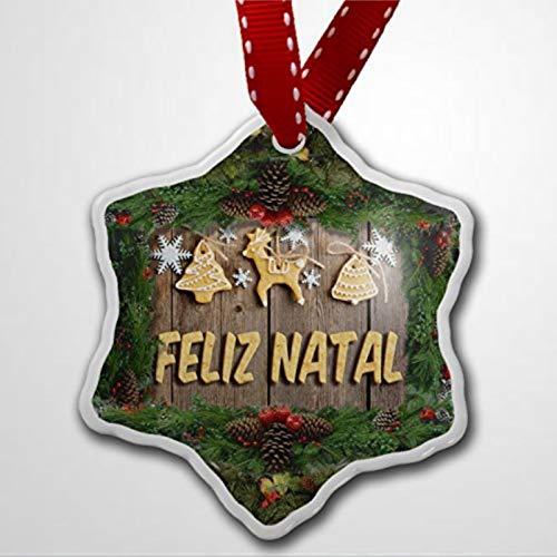 BYRON HOYLE Adorno de Navidad Feliz Navidad en portugués de Portugal Brasil Cabo Verde Adornos de Navidad Pandemia Decoración de Navidad Adorno de Boda Regalo de vacaciones