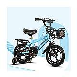 Kids bike Bicicleta infantil Brisk para niños de 2-3-4-5-6-7-8-9-10 rueda de aleación rosa azul blanco 12 14 16 pulgadas (color: azul, tamaño: 16 pulgadas)