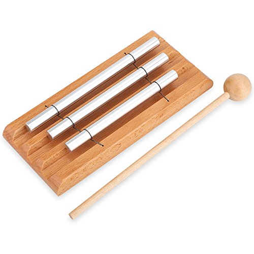 Dilwe 3 Tone Schlagzeug Chime, Holzhammer Percussion Musical Chime für Kinder Anfänger