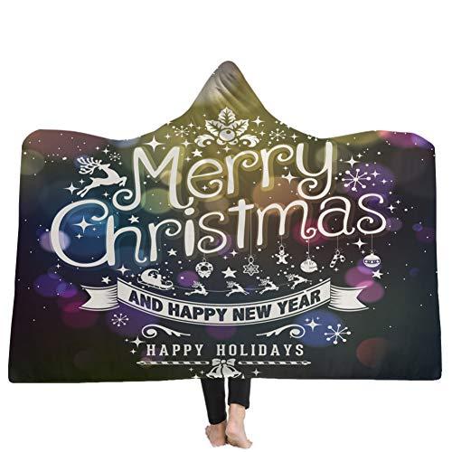 Wingbind Wearable Blanket Hooded Cape Microfiber Fluffy Fleece Lined 3D Patterned Blanket Warm Oversized Throw Blanket,Merry Christmas Letter 130x150
