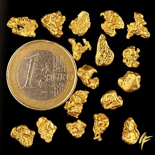 1 Gramm echte XXL Goldnuggets mit 20-23 Karat aus Alaska inkl. Echtheitszertifikat. TOP-Wertanlage seltener wie Goldbarren ! Wertiges Geschenk für alle Anlässe. Größe je Nugget 5-12 mm