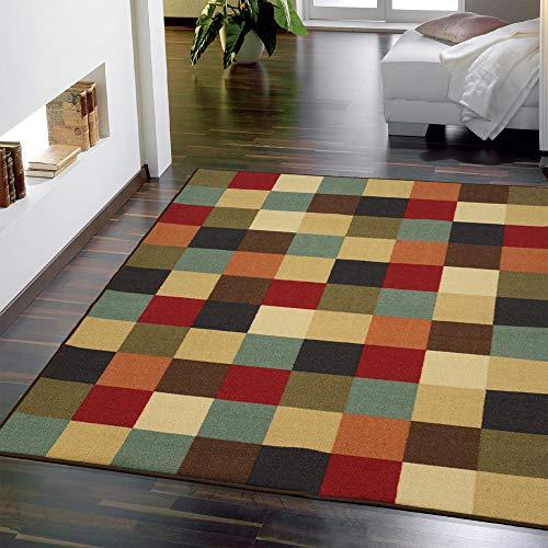 """Ottomanson Otto Home Collection Boxes Contemporary Checkered Design Modern Area Rug with Non-Skid (Non-Slip) Rubber Backing, 98"""" L x 118"""" W, Multi-Color"""