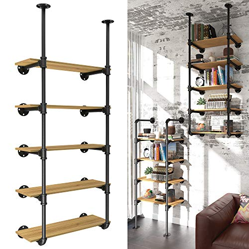 YITAHOME 5 Tiers Pipe Shelves Wall Mounted Industrial Retro Iron Shelf, Open Pipe with Hanging Bracket, DIY Storage Shelves, Kitchen Shelves, Tool Shelves, Office Shelves, Bookshelves and Bookcases