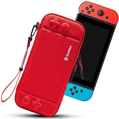 tomtoc Slim Case für Nintendo Switch, Ultra-dünn 4cm dick Hartschale Hülle Aufbewahrungstasche Tragetasche, kompatibile mit Switch Konsolle und 8 Spielkarten, Rot