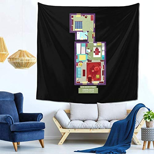 1033 Sherlock Baker Street Floor Plan Wall Hanging Tapestry for Living Room and Bedroom Spreads Good Vibes 59×59 Inches