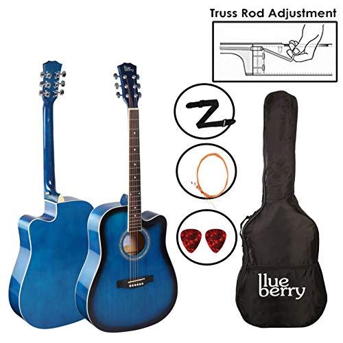 Blueberry B-40, 40' Acoustic Guitar Kit Inbuilt Truss Rod, with Bag,Belt, One Pack Strings & Picks (Blue)