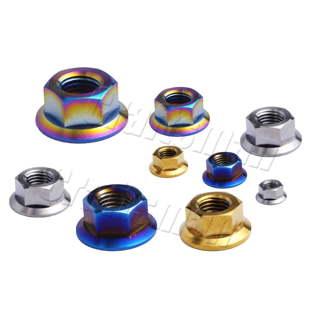 Bicycle Motorcycle Titanium Ti Flange Nuts Bolts Screw Nuts M5 M6 M8 M10 M12 M14