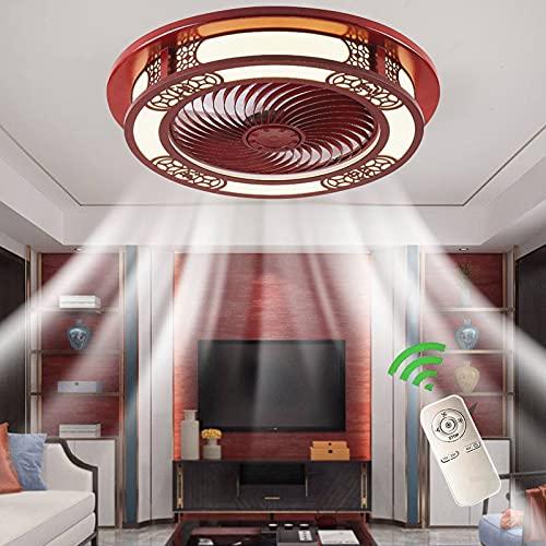 Dormitorio Lámpara Ventilador De Techo Invisible Con Luz LED Y Mando A Distancia Plafon Ventilador Silencioso Sala Iluminación Luces Bajo Consumo Home Fan Lights Estilo Chino De Madera Maciza