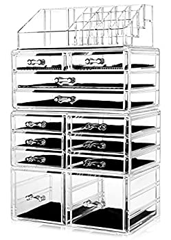 HBlife Makeup Organizer Acrylic Cosmetic Storage Drawers and Jewelry Display Box with 12 Drawers 9.5  x 5.4  x 15.8  4 Piece Clear