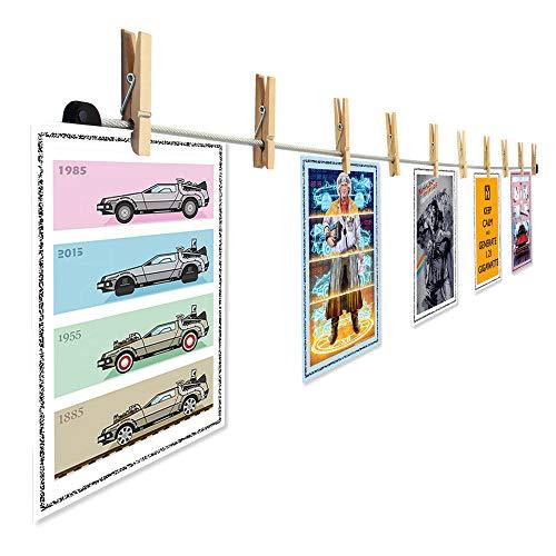 LeTOMA – Hochwertiges Fotoseil aus Stahl 2x100 cm lang und 2x8 rustikale Holzklammern 45mm - Fotoleine mit edler Anti-Rutsch-Schicht