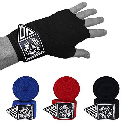 Dynamix Athletics Boxbandagen Vision - 5,00m - Elastische Boxbandagen für MMA Boxen Muay Thai Sparring - Extralang mit Daumenschlaufe und Klettverschluß (Schwarz)
