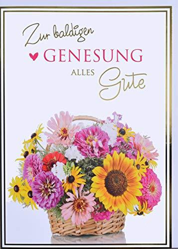 A4 XXL Genesungskarte Blumenkorb zur baldigen Genesung
