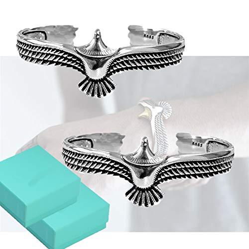 2 piezas Brazalete de águila de cobre retro, brazalete de extremo abierto, brazalete de punk rock vintage, brazalete de pulsera para hombres y mujeres (Plata)