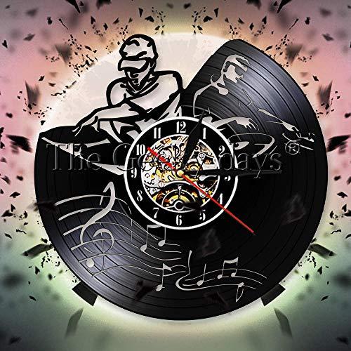 YHZSML Plattenspieler Mixer DJ Dekorative 3D Wanduhr eejay Spinning Scratching Album Vinyl Schallplatten Wanduhr Watch Music Club Party