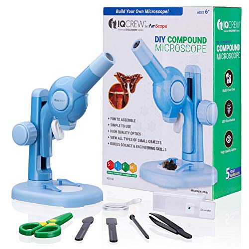 IQCREW Kids Build-My-Own Beginners Microscope Kit, DIY STEM Science Set w/ 15X Magnification & 12 pc Accessory Kit