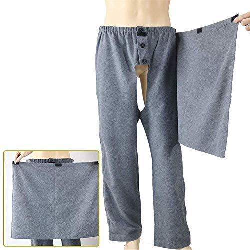Wenhu Meijia Inkontinenz Pflege Hosen, Open Patient Care Kleidung mit seitlichem Reißverschluss für Frakturen, bettlägerig ältere und behinderte Menschen,XXXL