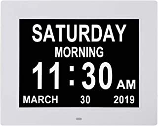 10 INCH Digital Calendar Day Clocks Extra Large Non-Abbreviated Day&Month with 5 Alarm Options,Perfect for Seniors + Impaired Vision Dementia