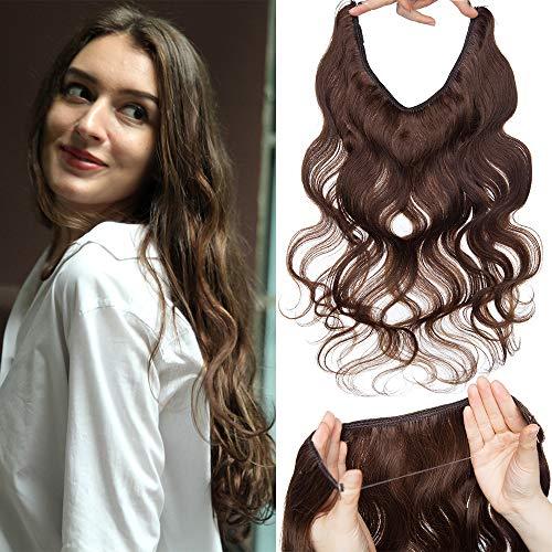 TESS Haarteile Echthaar Extensions günstig 1 PCS Remy Haarverlängerung mit Draht Haar Extensions Gewellt 22