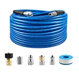 Atmozon Sewer Jetter Kit for Pressure Washer, 50FT Drain Cleaning Hose, Button Nozzle and Rotating Sewer Jetting Nozzle, Daily Tool for Pressure Washer Sewer Washer Kit