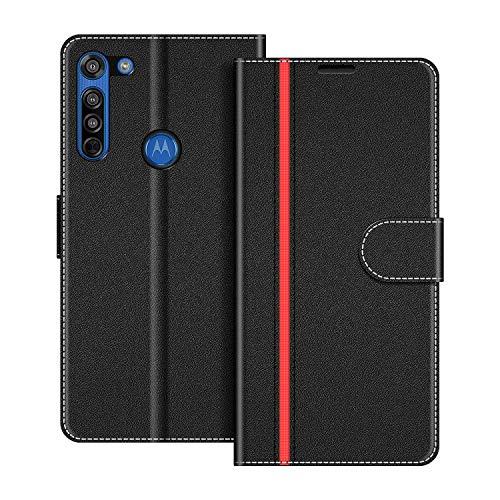 COODIO Handyhülle für Motorola Moto G8 Handy Hülle, Motorola Moto G8 Hülle Leder Handytasche für Motorola Moto G8 Klapphülle Tasche, Schwarz/Rot