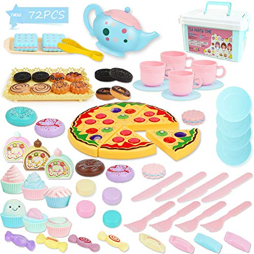 BGdoyz Kids Tea Set Princess Tea Time Toy, 74 Pieces Pretend Play Food Set Tea Party Playset Accessories, Including Plastic Teapots Teacups Cookies Cakes Donuts for Toddlers,Boys Girls