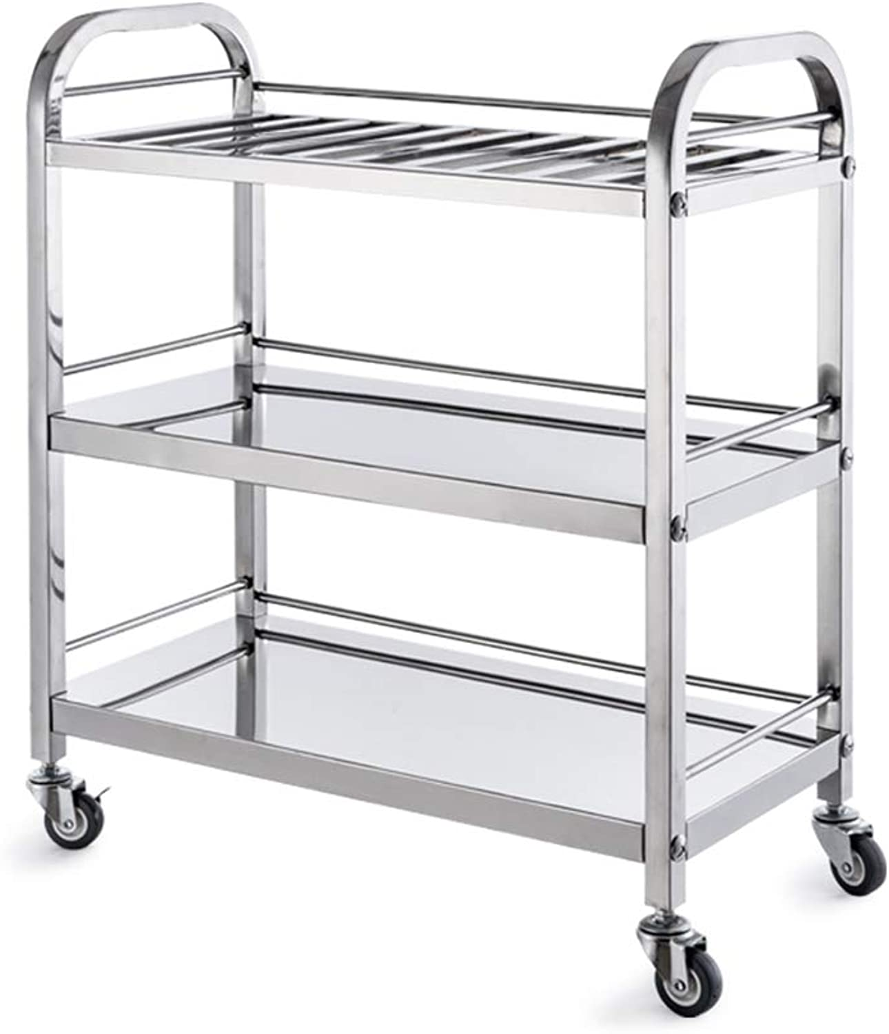 Rolling Service Storage Trolley, Stainless Steel Kitchen Dining Cart Hot Pot Dining Cart Vegetable and Fruit Drying Rack, 3-Tier Utility Cart
