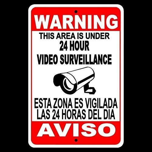No Brands English Warning Protected By Videosorveglianza Decorazione da parete per casa, bar, ristoranti, pub, o Man Cave SS04