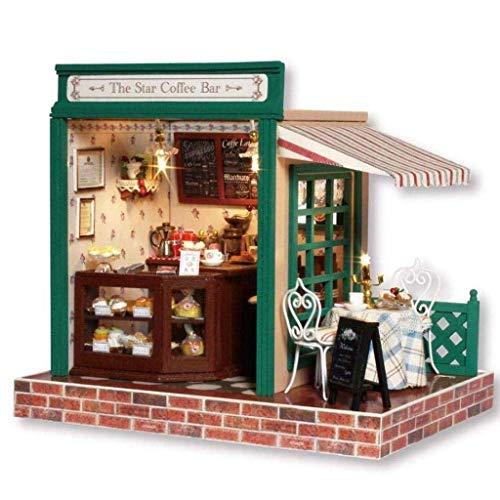 XZJJZ DIY Puppenhaus aus Holz Miniatur-Möbel-Set, handgemachte Minihaus Craft Plus-Staubschutz & LEDLight, Geburtstagsgeschenk for Kinder Erwachsene Mädchen Kaffee-Zeit