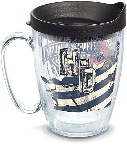 Tervis Harley Davidson - American Flag Insulated Tumbler with Wrap and Black Lid, 16oz Mug, Clear