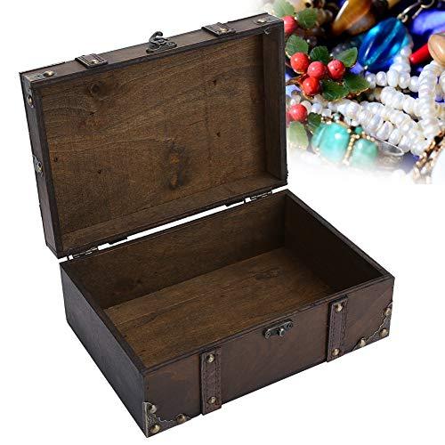 Joyería decorativa cofre del tesoro, caja vintage de madera con candado, para decoración del hogar, caja para joyas, collares, pendientes, almacenamiento (gris)